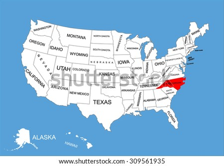 North Carolina State, USA, vector map isolated on United states map. Editable blank vector map of USA.  - stock vector