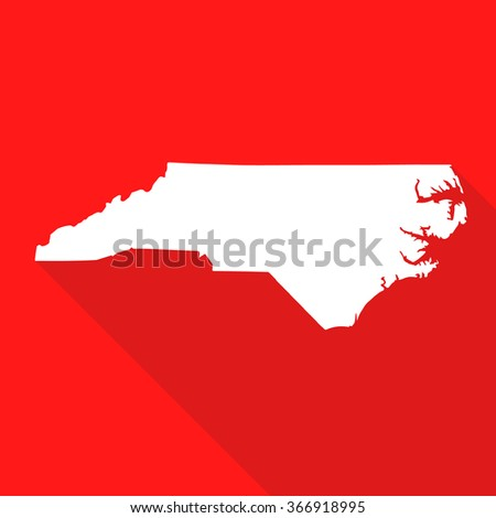 North Carolina white map,border flat simple style with long shadow on red background - stock vector