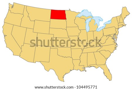 North Dakota Locate Map - stock vector