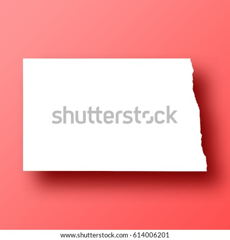 North Dakota Map isolated on red background with shadow. High detailed vector map.  Template for your design, website, infographic, brochure, cover, business annual report,...
