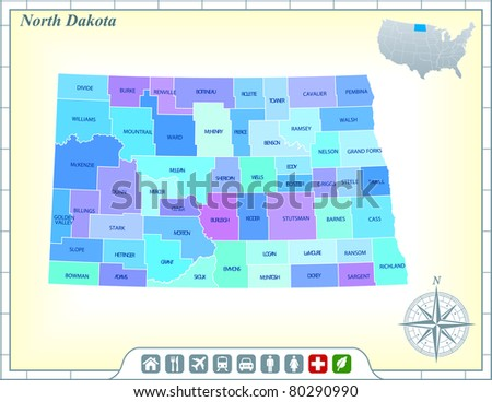 North Dakota State Map with Community Assistance and Activates Icons Original Illustration - stock vector