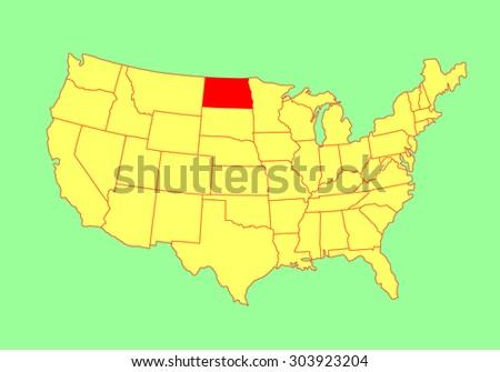North Dakota State Usa Vector Map Stock Vector 303923204