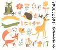 North forest set in vector. Deer, hedgehog, owl, bird and fox in cartoon style. Ribbons with place for your text. - stock