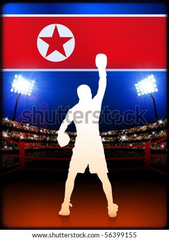 North Korea Boxing on Stadium Background Original Illustration - stock vector