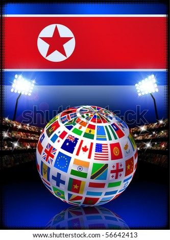 North Korea Flag Globe on Stadium Background Original Illustration