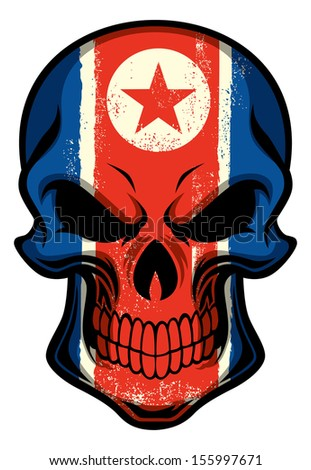 North Korea flag painted on a skull - stock vector