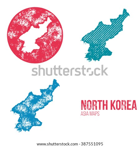 North Korea Grunge Retro Maps - Asia - Three silhouettes North Korea maps with different unique letterpress vector textures - Infographic and geography resource - stock vector