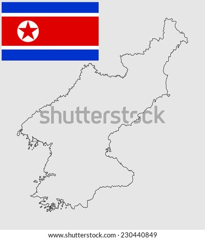 North Korea high detailed vector contour silhouette isolated on white background. original and simple North Korea flag isolated vector in official colors and Proportion Correctly. - stock vector