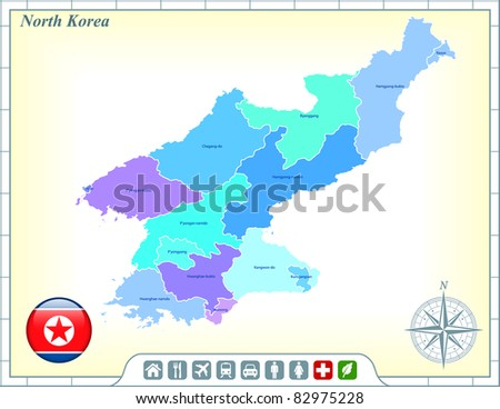 North Korea Map with Flag Buttons and Assistance & Activates Icons Original Illustration - stock vector