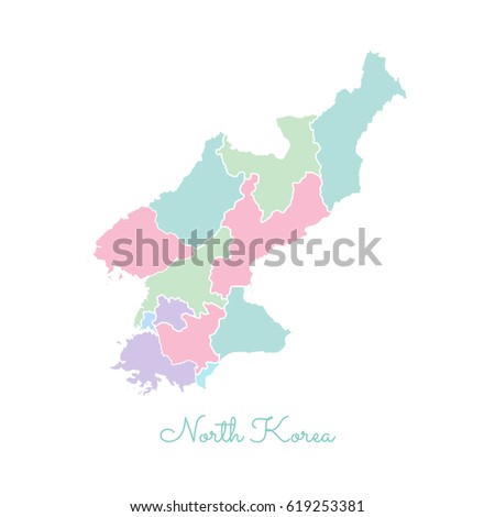 North Korea Region Map Colorful With White Outline Detailed Map Of North Korea Regions