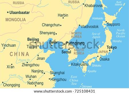 North korea south korea japan china stock photo photo vector north korea south korea japan china russia mongolia map detailed vector illustration gumiabroncs Choice Image