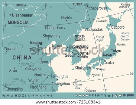 North korea south korea japan china vector de stock725108341 north korea south korea japan china russia mongolia map vintage detailed vector illustration gumiabroncs Images