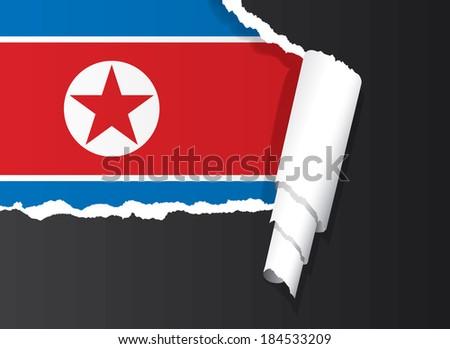 North Korean flag under ripped paper vector illustration. - stock vector