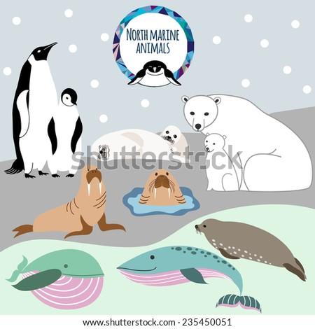 North marine animals. - stock vector