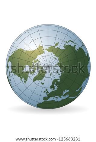 North Pole map. Europe, Greenland, Asia, America, Russia - stock vector