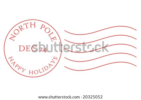 North Pole postmark in muted red dated December 24. - stock vector