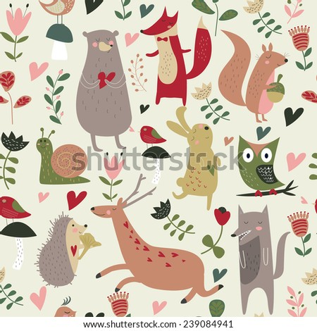 North wood animals in cartoon style. Cute bear, owl, birds, squirrel, fox, hare, snail, wolf and hedgehog. Seamless background.  - stock vector