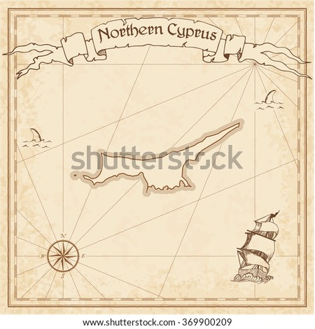 Turkey Old Treasure Map Sepia Engraved Stock Vector - Map of northern cyprus in english