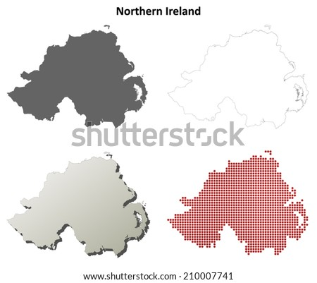 Northern Ireland blank detailed outline map set - vector version - stock vector