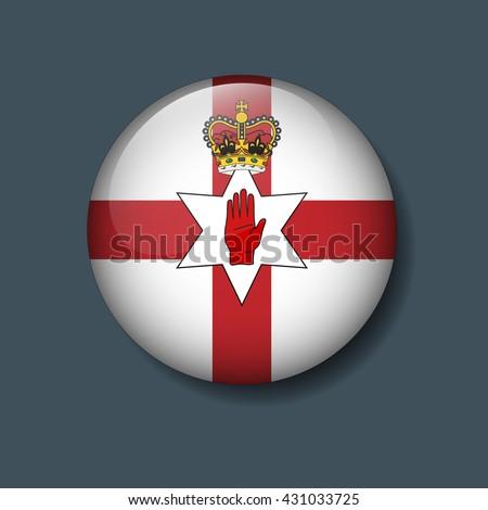 Northern Ireland Flag on Button, Logo Euro 2016 Soccer, Football team concept  - stock vector