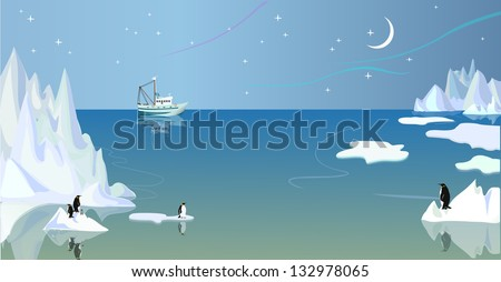Northern landscape with icebergs and penguins - stock vector