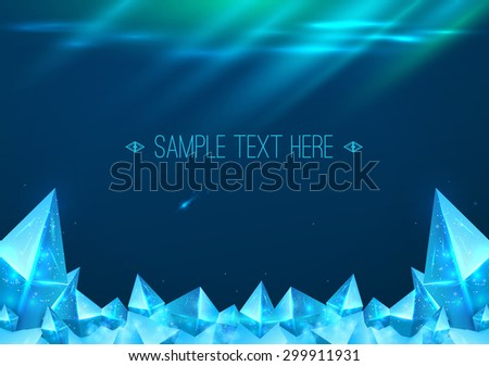 Northern Lights background with ice crystals. Free space for text. Vector illustration - stock vector