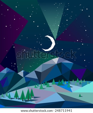 northern lights over mountains in winter night with moon vector