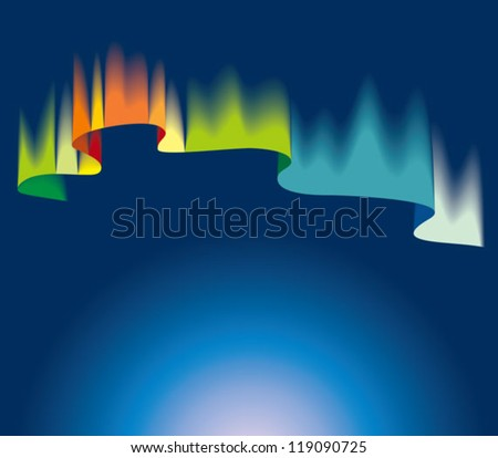 Northern or polar lights, copy-space background, vector illustration - stock vector