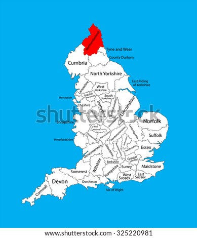 Northumberland Vector County Map North East Stock Vector (Royalty ...