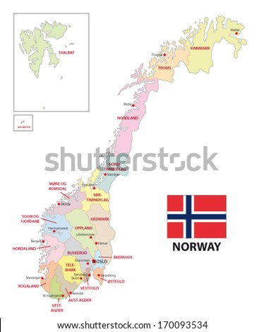 Norway Administrative Map Stock Vector Shutterstock - Norway map eps