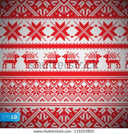 Norway Christmas seamless vector background, Eps 10 image - stock vector