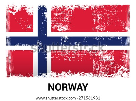 Norway grunge flag isolated vector in official colors and Proportion Correctly. country's name label in bottom. Vector Illustration - stock vector