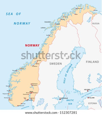 norway map - stock vector