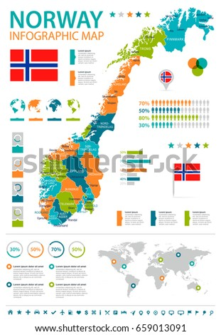 Vector Election Infographics Ukraine Set Charts Stock Vector - Norway election map