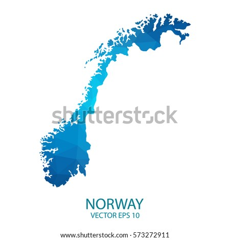 High Detailed Blue Map Norway Vector Stock Vector - Norway map eps