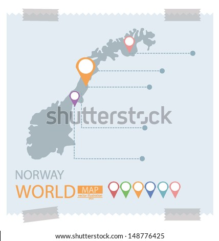 Norway. Map vector Illustration. - stock vector