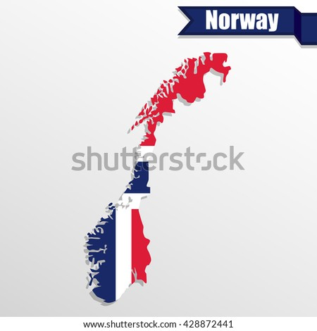 Norway map with flag inside and ribbon - stock vector