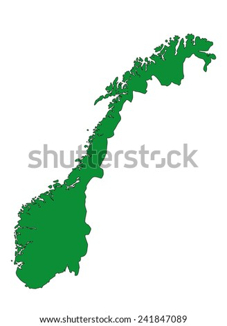 Norway map with green color in white background, norway map vector, map vector
