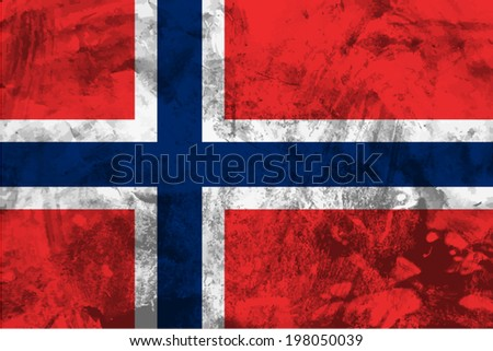 Norway, Norwegian Flag on concrete textured background - stock vector