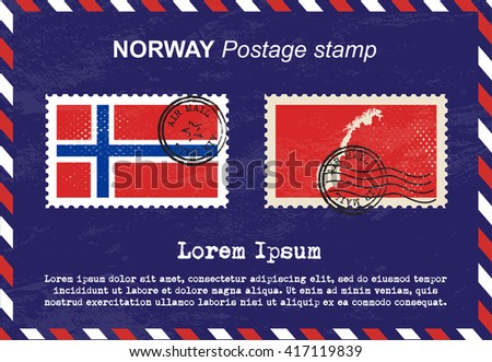 Norway postage stamp, postage stamp, vintage stamp, air mail envelope. - stock vector