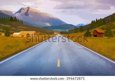 Norway summer road landscape - stock vector