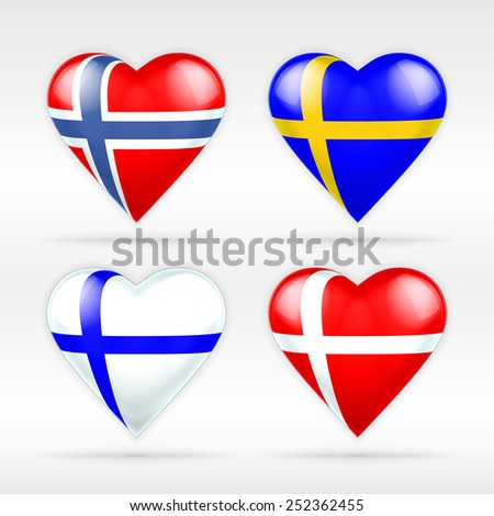 Norway, Sweden, Finland and Denmark heart flag set of European states as collection of isolated vector state flags icon elements on white - stock vector