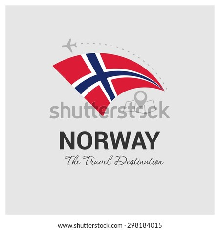 Norway The Travel Destination logo - Vector travel company logo design - Country Flag Travel and Tourism concept t shirt graphics - vector illustration - stock vector