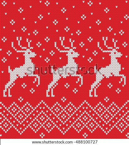 Norwegian Sweater Deer Seamless Knitting Pattern Stock Vector
