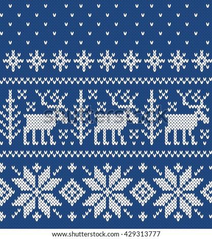 Norwegian Sweater Deer Snowflake Seamless Knitting Stock Photo