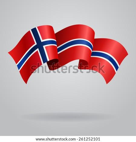 Norwegian waving Flag. Vector illustration Eps 8. - stock vector