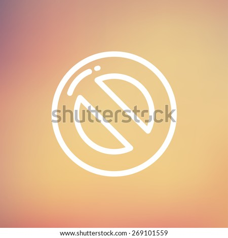 Not allowed icon thin line for web and mobile, modern minimalistic flat design. Vector white icon on gradient  mesh background. - stock vector