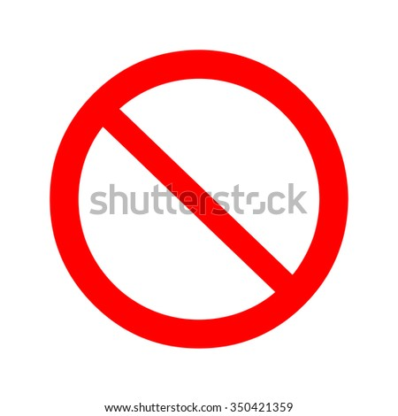 Not allowed sign. Isolated vector Illustration. Red on White background. EPS Illustration.