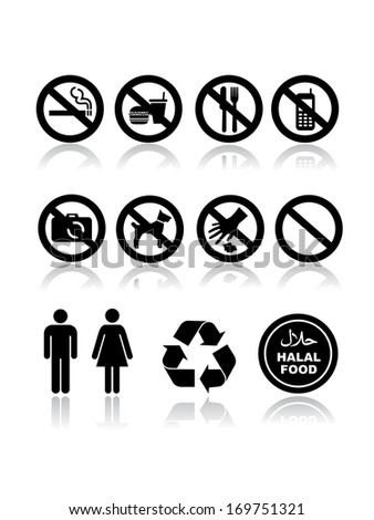 Not allowed template icon set on white  - stock vector