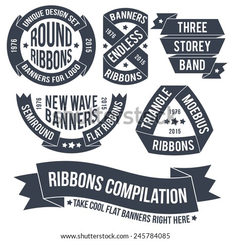 Not ordinary ribbons and banners for use in emblems. Endless bands for logos. Ribbons and banners in retro style. - stock vector